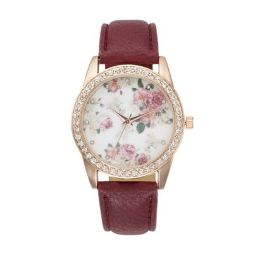 Women's Floral Crystal Watch