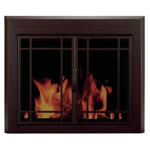 Pleasant Hearth Enfield Prairie Cabinet Style Fireplace Screen and 9-Pane Smoked Glass Door; Medium