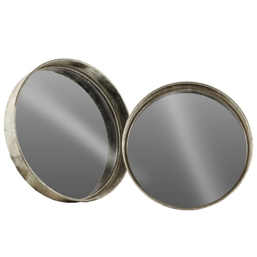 Tarnished Finish Antique Foil Silver Metal Round Wall Mirror (Set of 2)