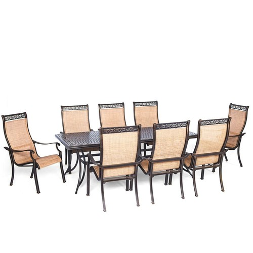 Hanover Somerset 9-Piece Aluminum Rectangular Outdoor Dining Set with Cast-Top Table