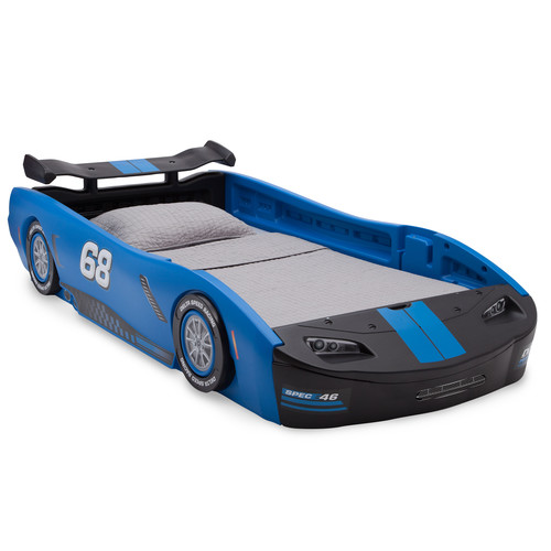 Delta Children Turbo Race Car Twin Bed, Blue