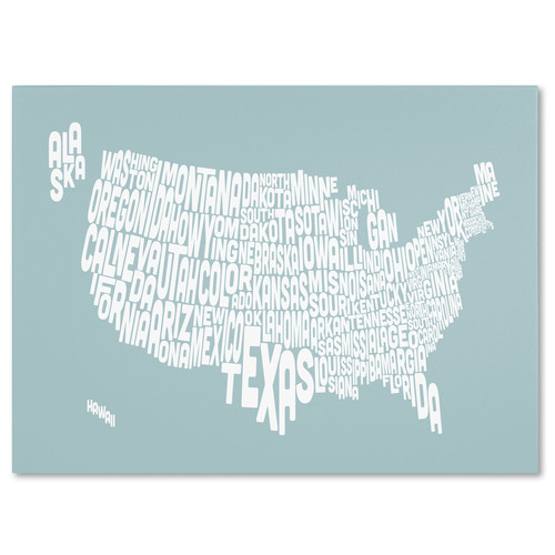 Trademark Global Michael Tompsett 'USA States Text Map - Duck Egg' Canvas Art [Overall Dimensions : 22x32]