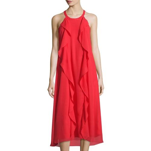 Donna Ricco Sleeveless Ruffle Chiffon Midi Dress, Red