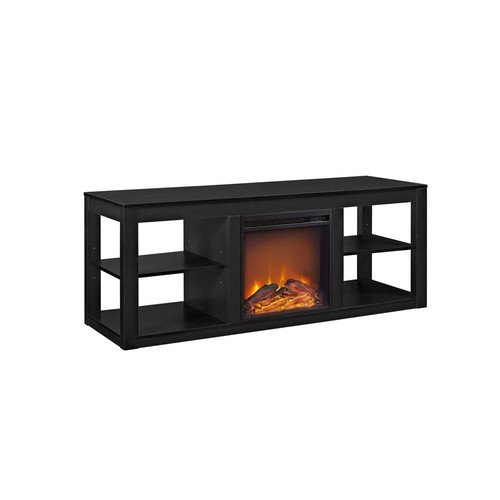 Ameriwood Nelson 65 in. Black TV Stand Console with Fireplace