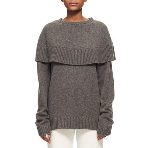 CHLOE Crewneck Cashmere Capelet Sweater, Charcoal Black