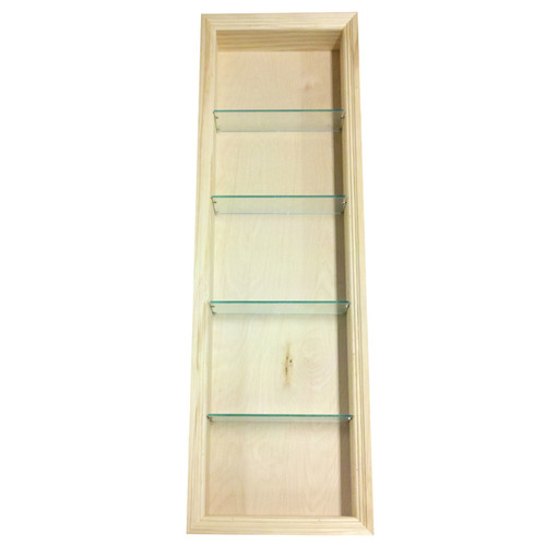 WG Wood Products Wood and Glass 54-inch Recessed Bathroom Shelf