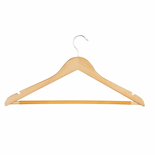 Honey-Can-Do HNGT01206 Basic Suit Hanger with Non-slip Bar Maple, 8-Pack