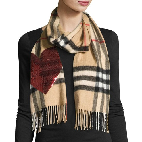BURBERRY Sequin Heart Check Cashmere Scarf, Camel Red