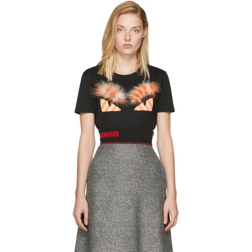 FENDI Black & Orange Fur 'Bag Bugs' T-Shirt