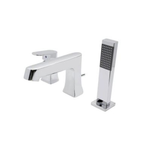 ANZZI Rin Series Single-Handle Deck-Mount Roman Tub Faucet with Handheld Sprayer in Polished Chrome
