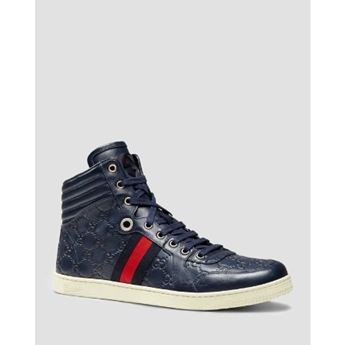 GUCCI Ssima Leather High Top Sneakers