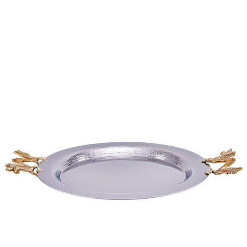 Silver Stainless Steel Round Hammered Tray with Dragon Handles