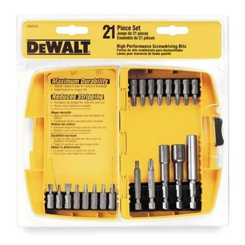 DEWALT DW2161-SD Heavy Duty 21-Piece Set with Translucent case and FREE Screwdriver and Torx Bit