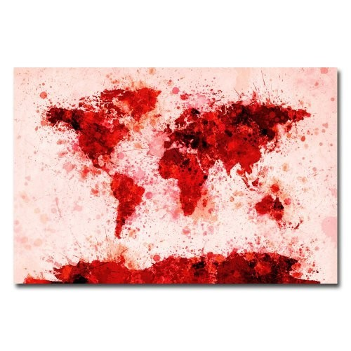 World Map - Red Paint Splashes by Michael Tompsett, 16x24-Inch Canvas Wall Art [16 by 24-Inch]