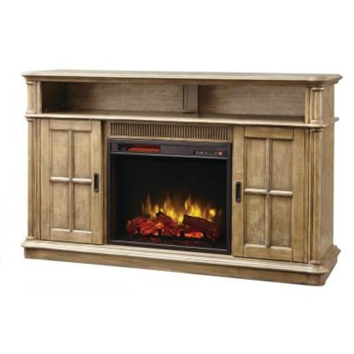 Home Decorators Collection Jamerson Manor 60 in. Media Console Infrared Electric Fireplace in Driftwood
