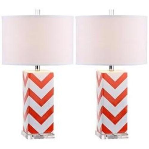 Safavieh Lighting Collection Chevron Stripe Table Lamp, Orange, Set of 2