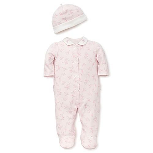 Little Me Newborn 2-Piece Dainty Rose Footie and Hat Set in Pink