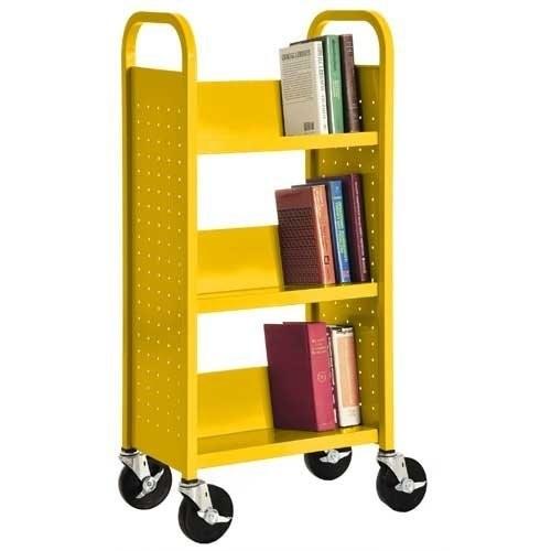 Sandusky Lee SL33017-EY Single Sided Sloped Shelf Book Truck, 14