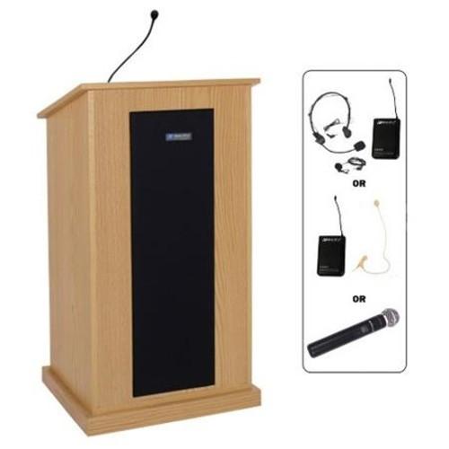 AmpliVox SW450 Wireless Presidential Plus Lectern with Lapel & Headset Micr, Oak SW450-OK-L