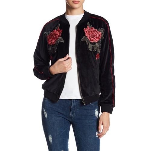 Eleni Embroidered Velvet Bomber Jacket