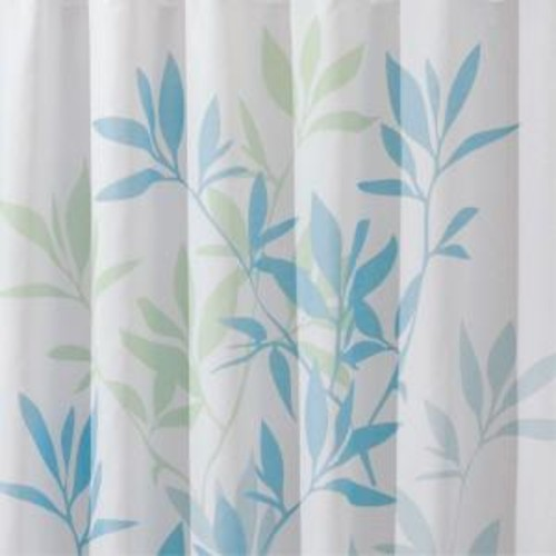 interDesign 72 in. x 72 in. Shower Curtain in Soft Blue/Green Leaves