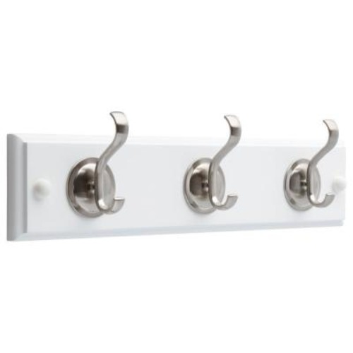 Liberty 14 in. White and Satin Nickel Coat and Hat Hook Rack