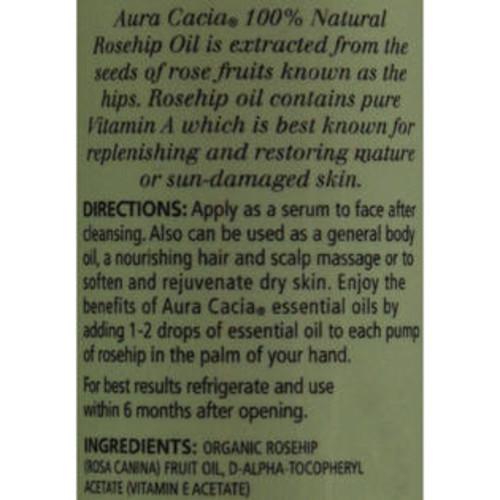 Aura Cacia Rosehip Seed Skin Care Oil Certified Organic - 1 fl oz