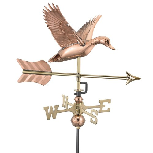 Good Directions Flying Duck with Arrow Garden Weathervane-Pure Copper with Garden Pole