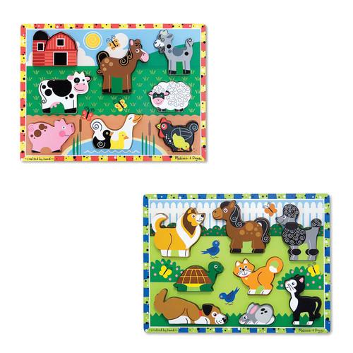 Melissa & Doug Pets & Farm Chunky Puzzle Bundle