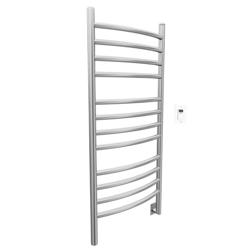 Ancona Svelte Rounded 40 in. Hardwired Electric Towel Warmer and Drying Rack in Brushed Stainless Steel with Timer