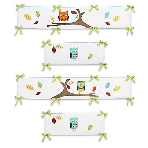 Sweet Jojo Designs Hooty 4-Piece Crib Bumper in Turquoise/Lime
