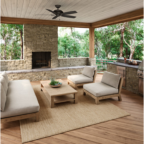 Hunter Rainsford 52-in Premier Bronze Indoor/Outdoor Downrod Or Close Mount Ceiling Fan ENERGY STAR