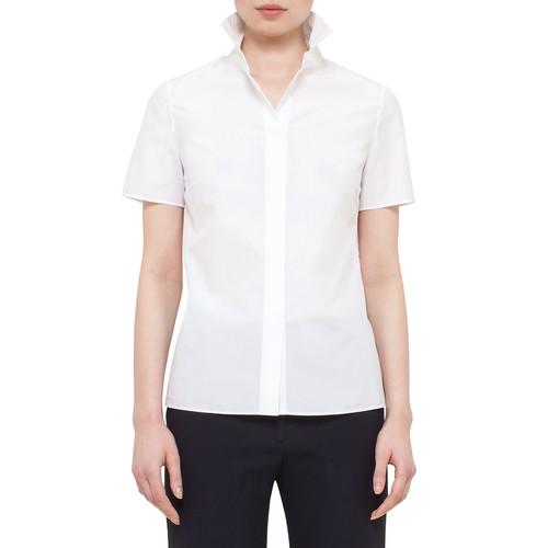 AKRIS PUNTO Short-Sleeve Cotton Blouse W/Eyelet Back, White