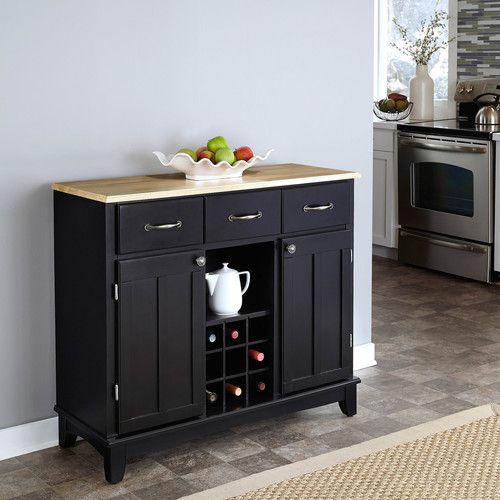Home Styles Black and Natural Buffet with Wine Storage