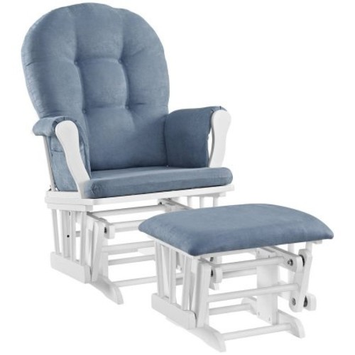 Angel Line Windsor Glider with Ottoman, White with Blue Cushion