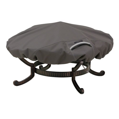 Classic Accessories Ravenna Round Fire Pit Cover; Dark Taupe, Medium