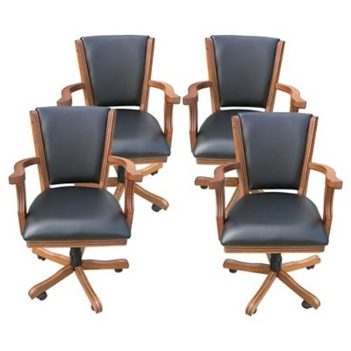 Hathaway Poker Table Chairs - Dark Oak - Set of 4