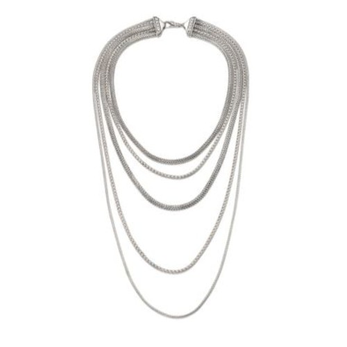Classic Chain Sterling Silver Multi-Strand Necklace