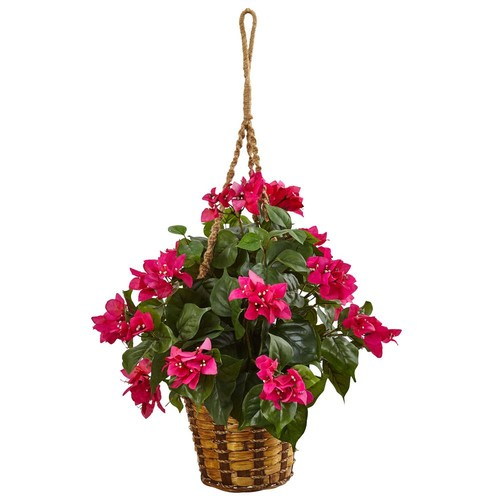 Nearly Natural Indoor Bougainvillea Flowering Artificial Plant in Hanging Basket