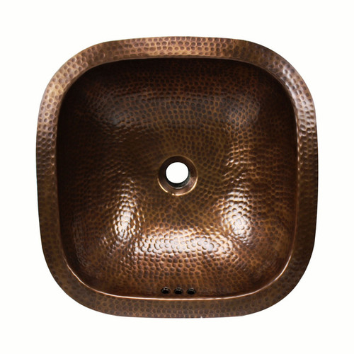 16-inch Square Artisan Hand-hammered Copper Bathroom Sink