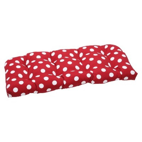 Outdoor Wicker Bench/Loveseat/Swing Cushion - Red/White Polka Dot
