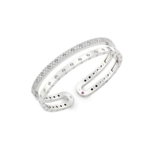 Symphony Pois Mois Diamond & 18K White Gold Double Bangle