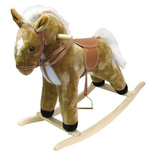Happy Trails Plush Rocking Horse - Tan