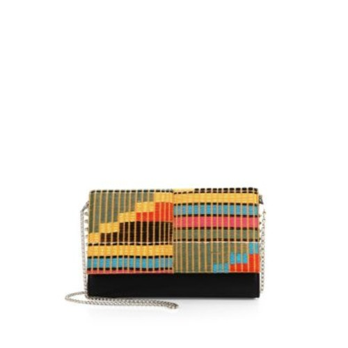 CHRISTIAN LOUBOUTIN Paloma Convertible Africube Embroidered Leather Clutch