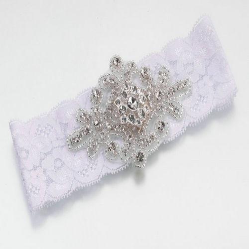 Jeweled Garter, White