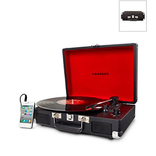 Crosley Cruiser Black 3-Speed Portable Turntable with Built-in Speakers