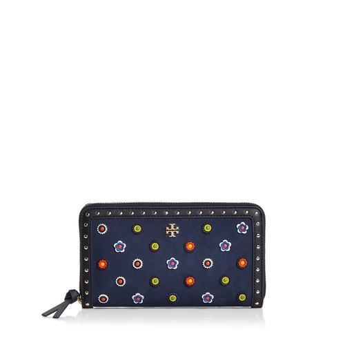 TORY BURCH Marguerite Zip Embellished Suede Continental Wallet