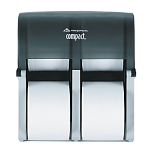 Georgia-Pacific Compact Vertical 4-Roll Tissue Dispenser, Translucent Smoke