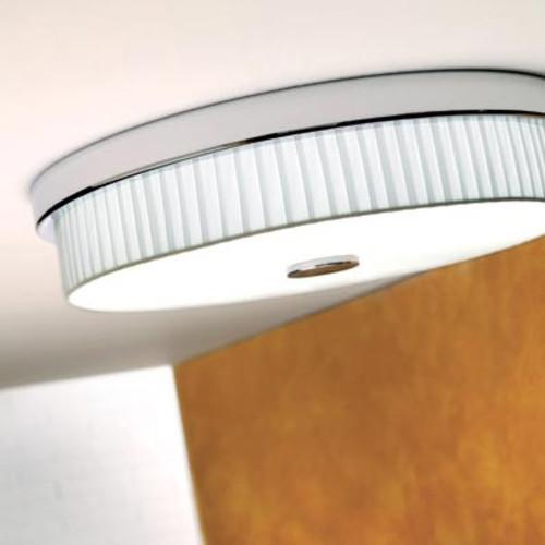 Rondo I Ceiling Light [Lamp Shade : White Translucent Ribbon; Finish\/Style : Satin Nickel]
