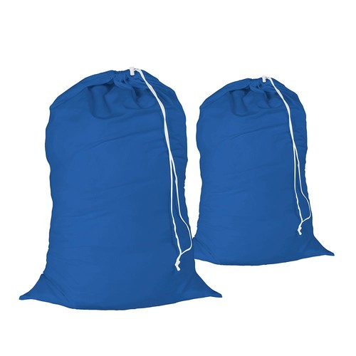 Honey Can Do Cotton Laundry Bag with Drawstring, Blue (Pack of 2)